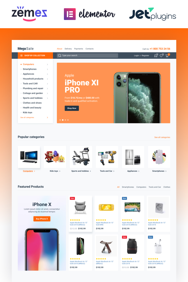 """MegaSale - Innovative Online ECommerce Super Market"" Responsive WooCommerce Thema №87223"