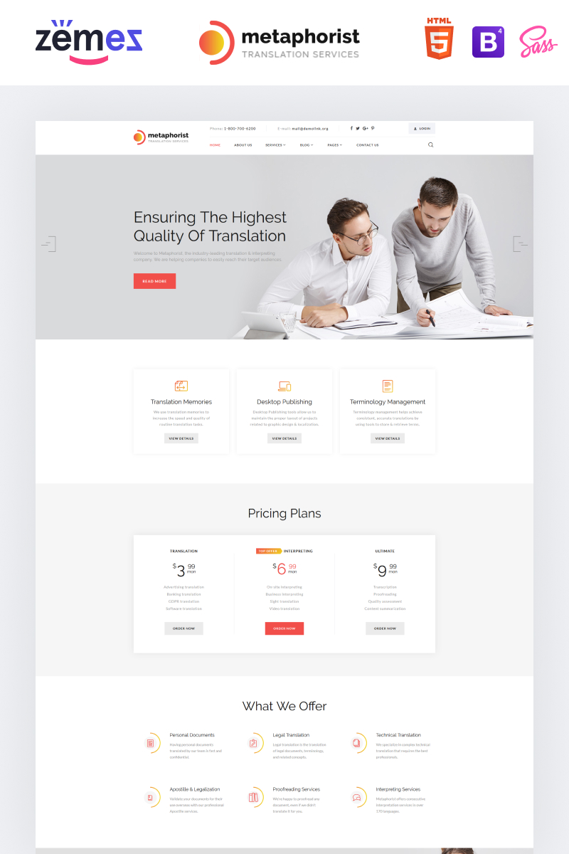 """Metaphorist - Translation Bureau Multipage Elegant HTML"" Responsive Website template №87234"
