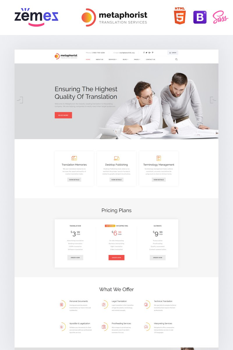 Metaphorist - Translation Bureau Multipage Elegant HTML Website Template