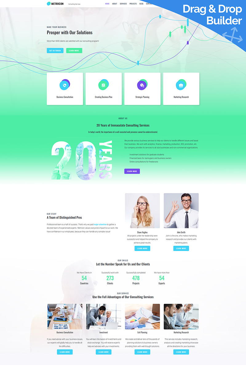 """Metricon - Corporate Business"" Responsive Moto CMS 3 Template №87233"