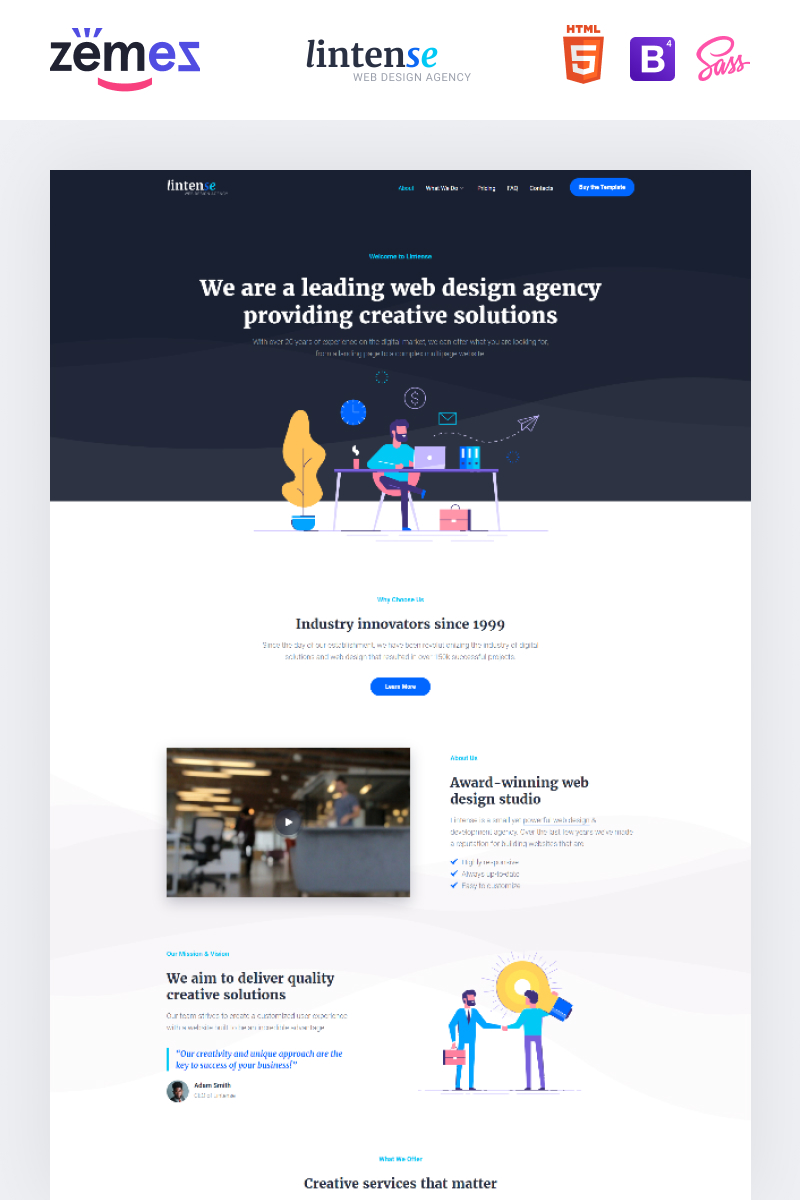 "Modello di Landing Page Responsive #87248 ""Lintense Corporate - Web Design Agency Creative HTML"""