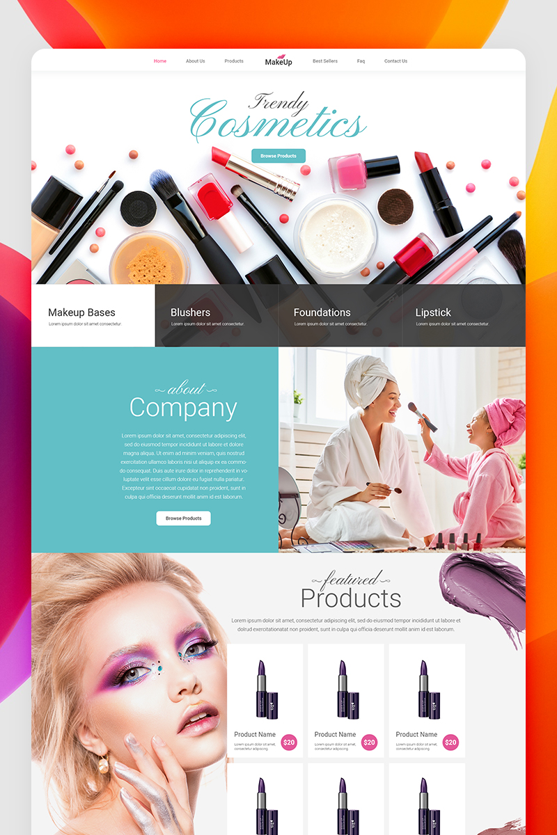 "Modello PSD #87239 ""Beautiful Make Up Company - Creative Parallax Design"""