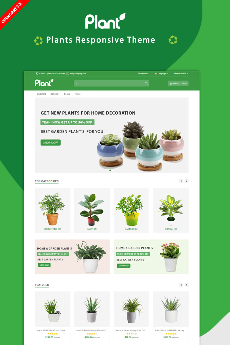 """Plant"" Responsive OpenCart Template №87278"
