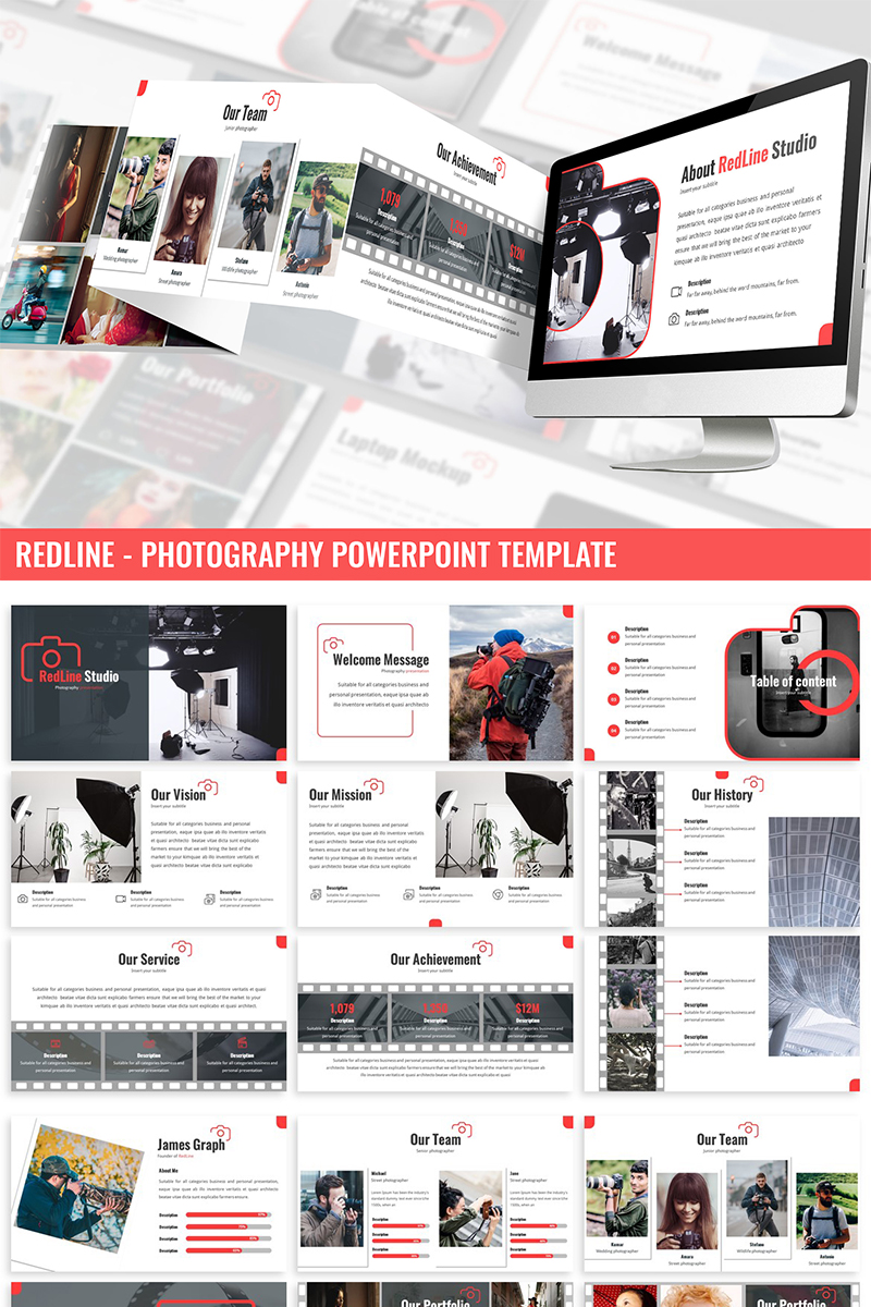 "Plantilla PowerPoint ""Redline - Photography"" #87285"