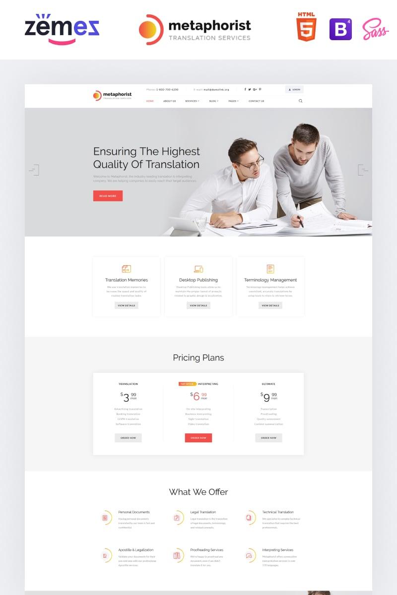 "Plantilla Web ""Metaphorist - Translation Bureau Multipage Elegant HTML"" #87234"