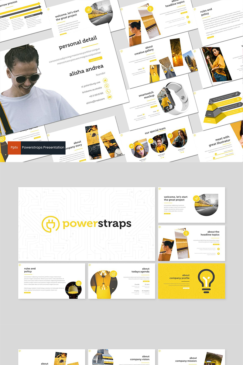 """""""Powerstraps"""" PowerPoint Template №87279"""