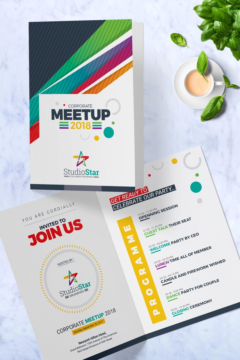 Prémium Corporate Meet-up Invitation Card Template PSD sablon 87276
