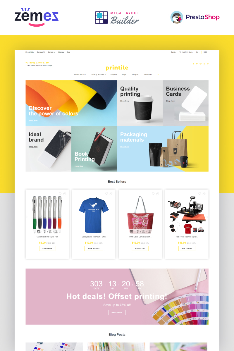 "PrestaShop Theme namens ""Printile - Print Shop Ecommerce"" #87252"