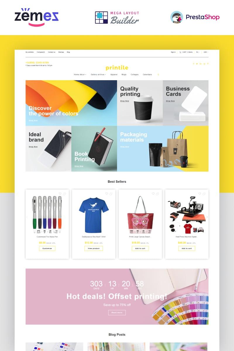 """Printile - Print Shop Ecommerce"" Responsive PrestaShop Thema №87252"