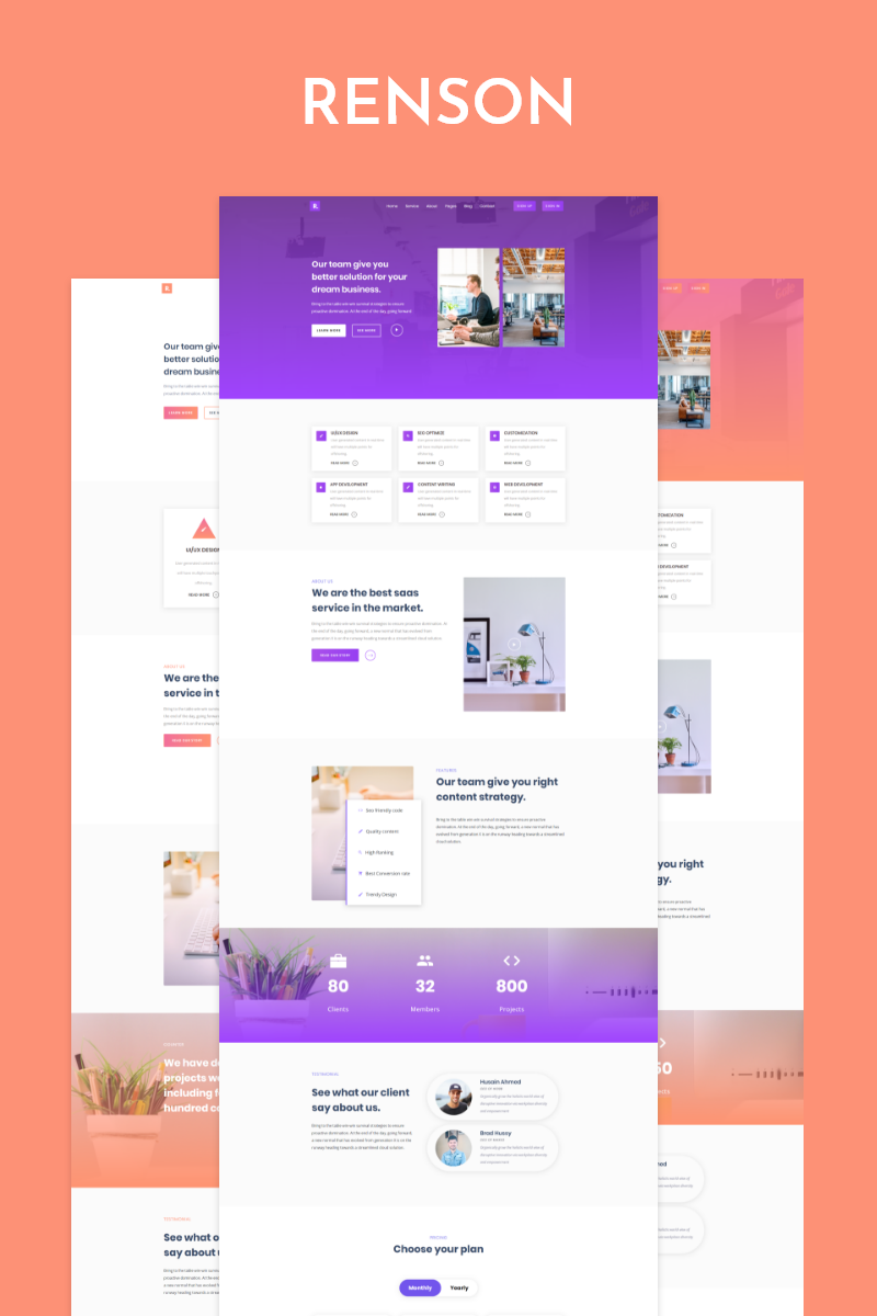 Renson - Responsive Landing Page-mall #87257