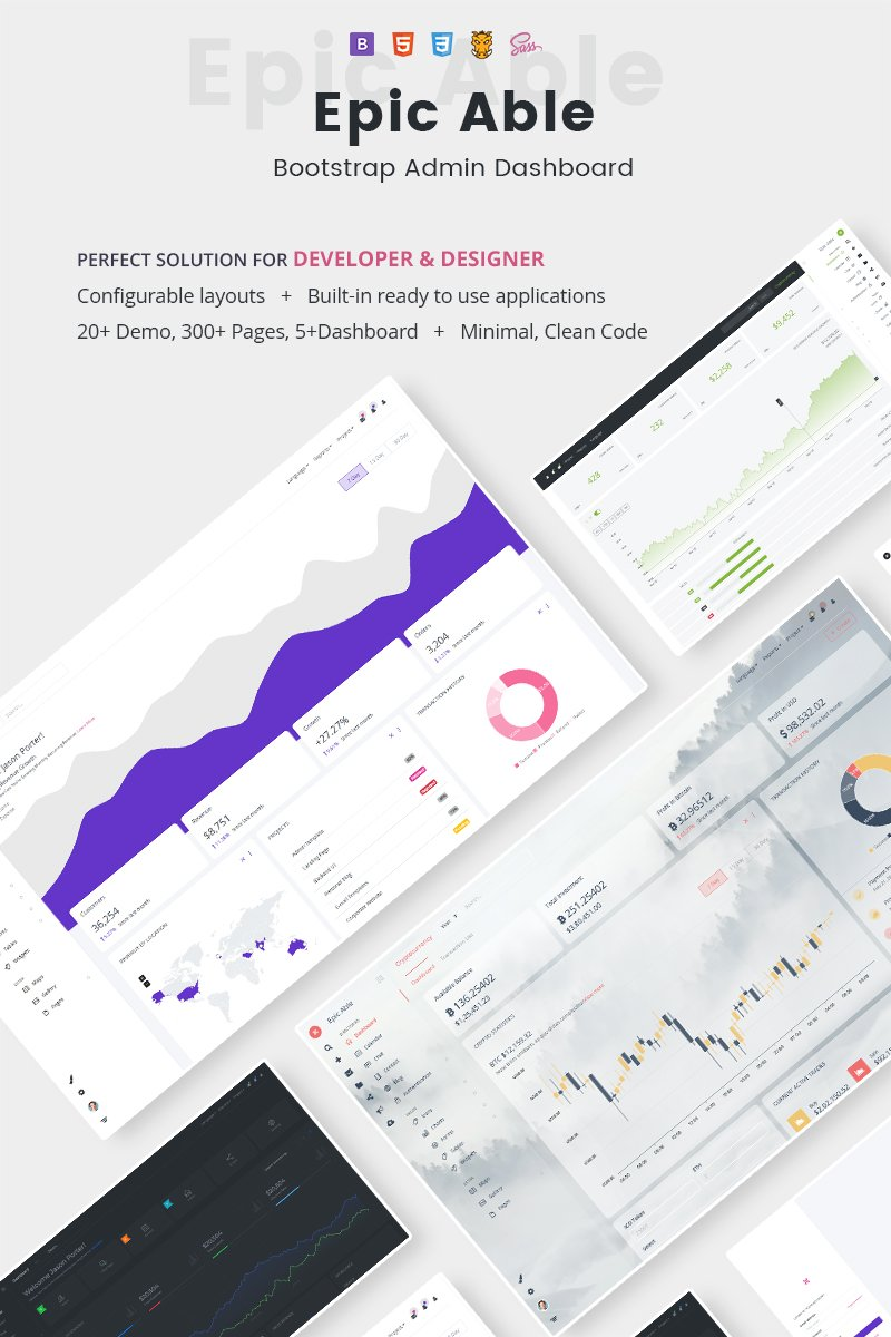 Responsive Epic Bootstrap Admin Dashboard Template & UI KIT Yönetici #87253