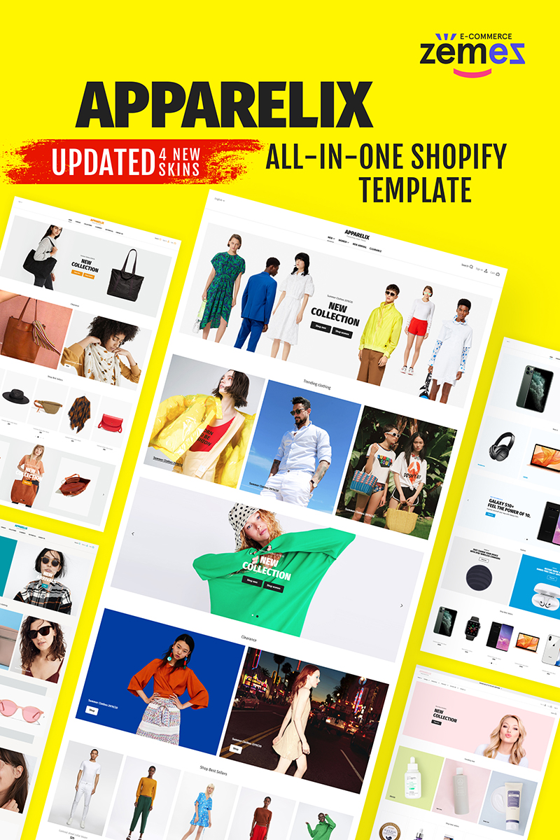 Responsivt Apparelix - Clean Multipurpose Shopify-tema #87247