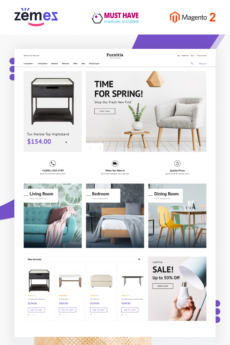 Responsivt Furnitia - Magento Furniture Store Theme Magento-tema #87251