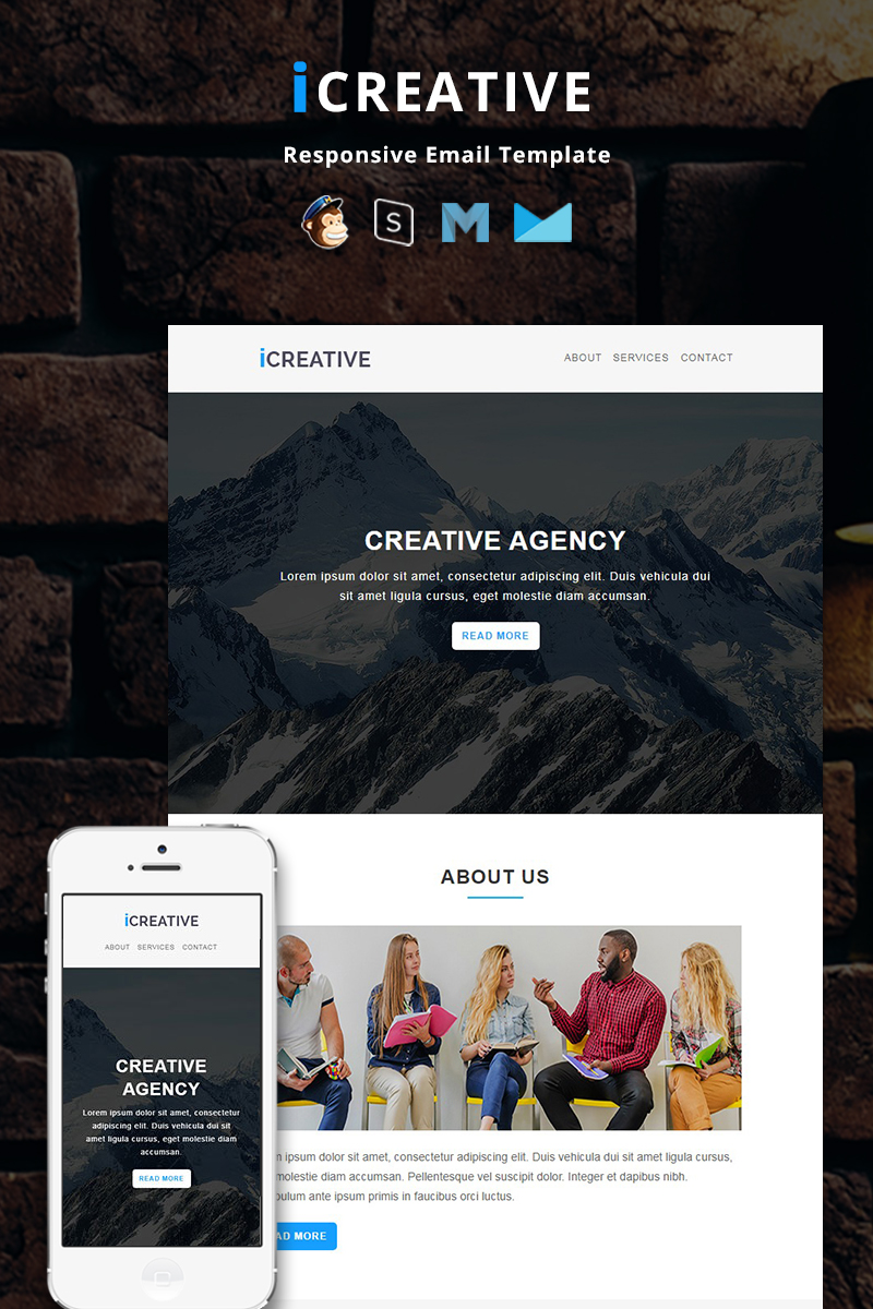 Responsivt iCreative - Corporate Responsive Newsletter-mall #87259
