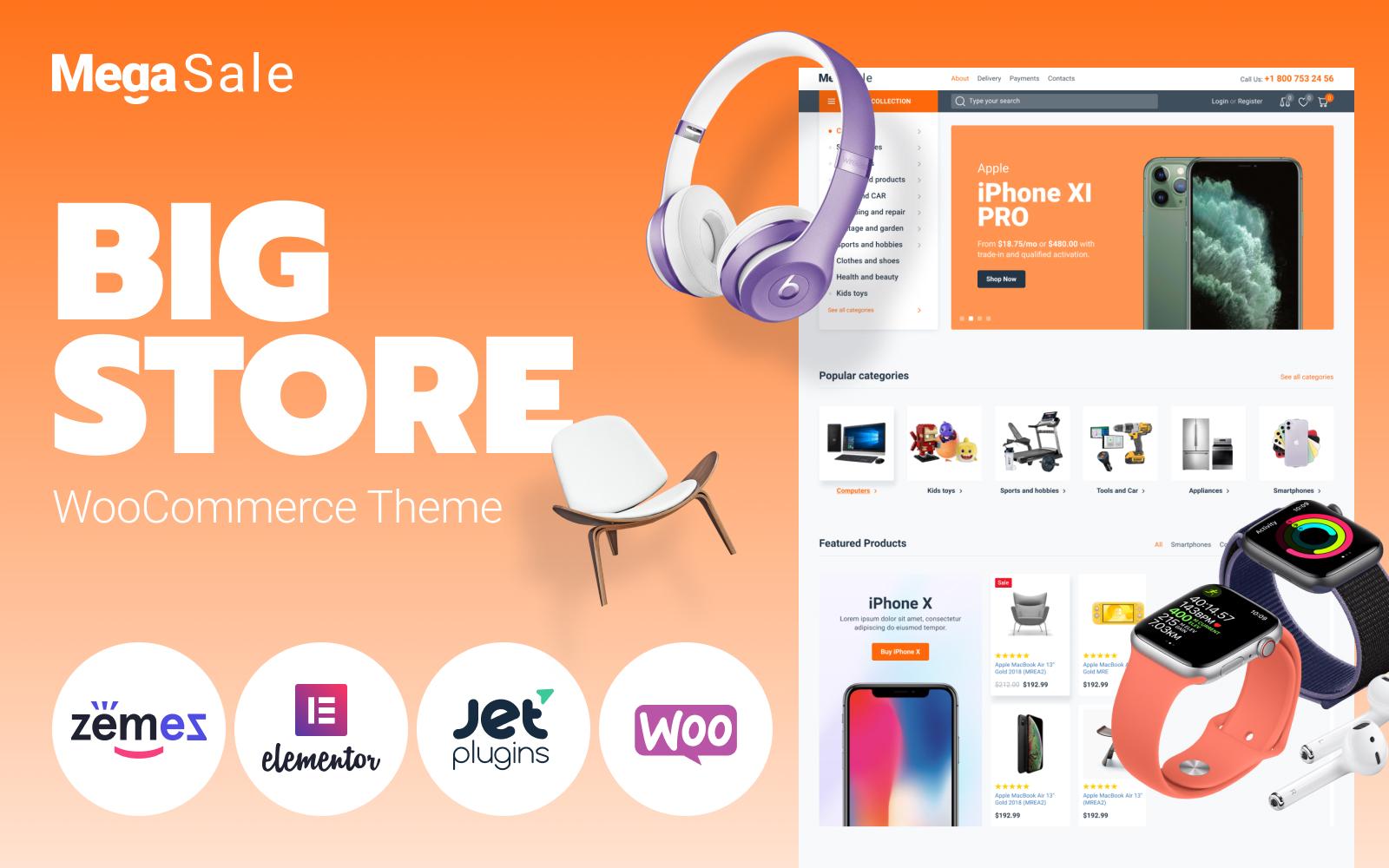 Responsivt MegaSale - Innovative Online ECommerce Super Market WooCommerce-tema #87223
