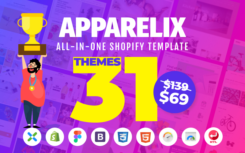 Responsywny szablon Shopify Apparelix - Clean Multipurpose #87247
