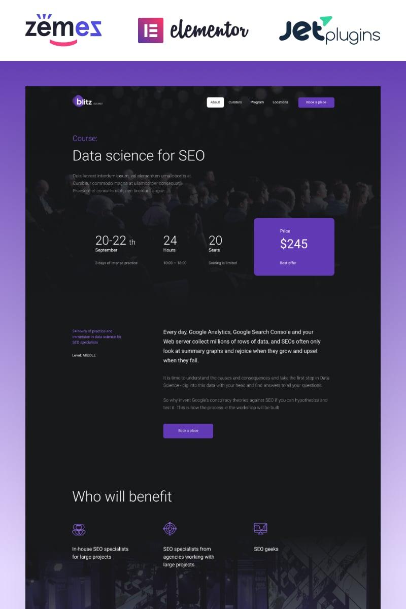 Reszponzív Blitz - Webinar Landing Page Template WordPress sablon 87261 - képernyőkép