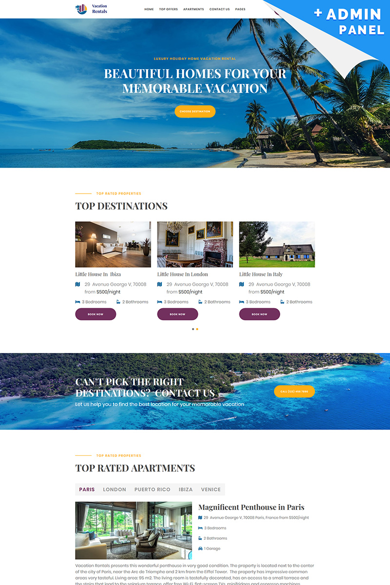 Reszponzív Vacation Rental Nyítóoldal sablon 87250
