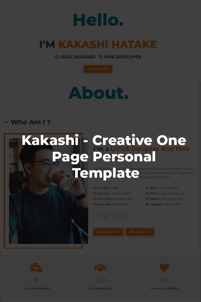 "Šablona mikrostránek ""Kakashi - Creative Personal"" #87277"