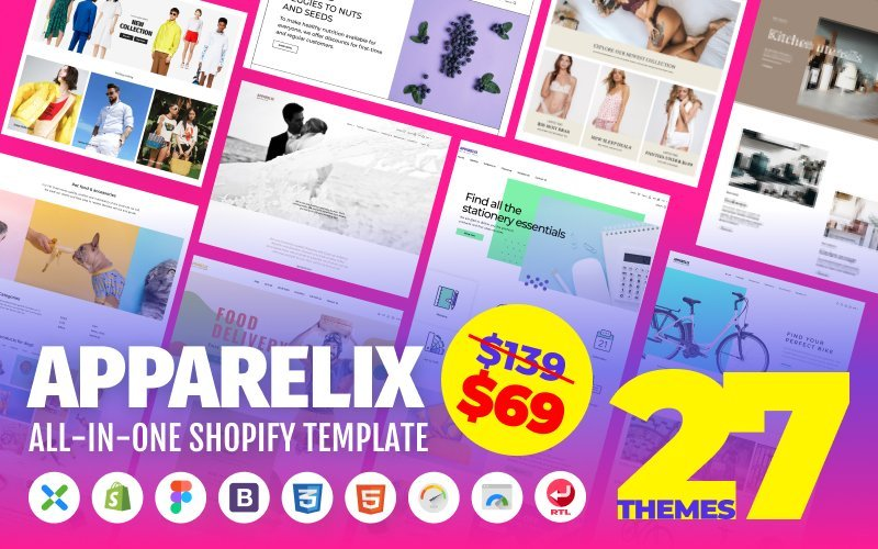 "Shopify Theme namens ""Apparelix - Clean Multipurpose"" #87247"