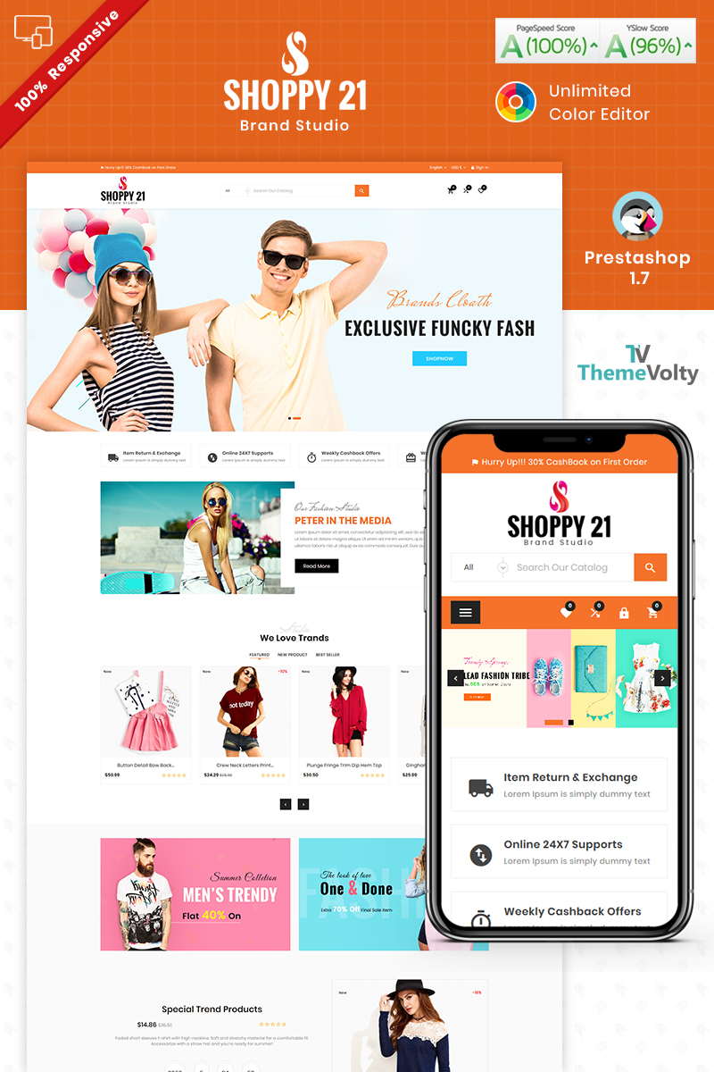 """Shoppy21 - Fashion Responsive Store"" - PrestaShop шаблон №87222"