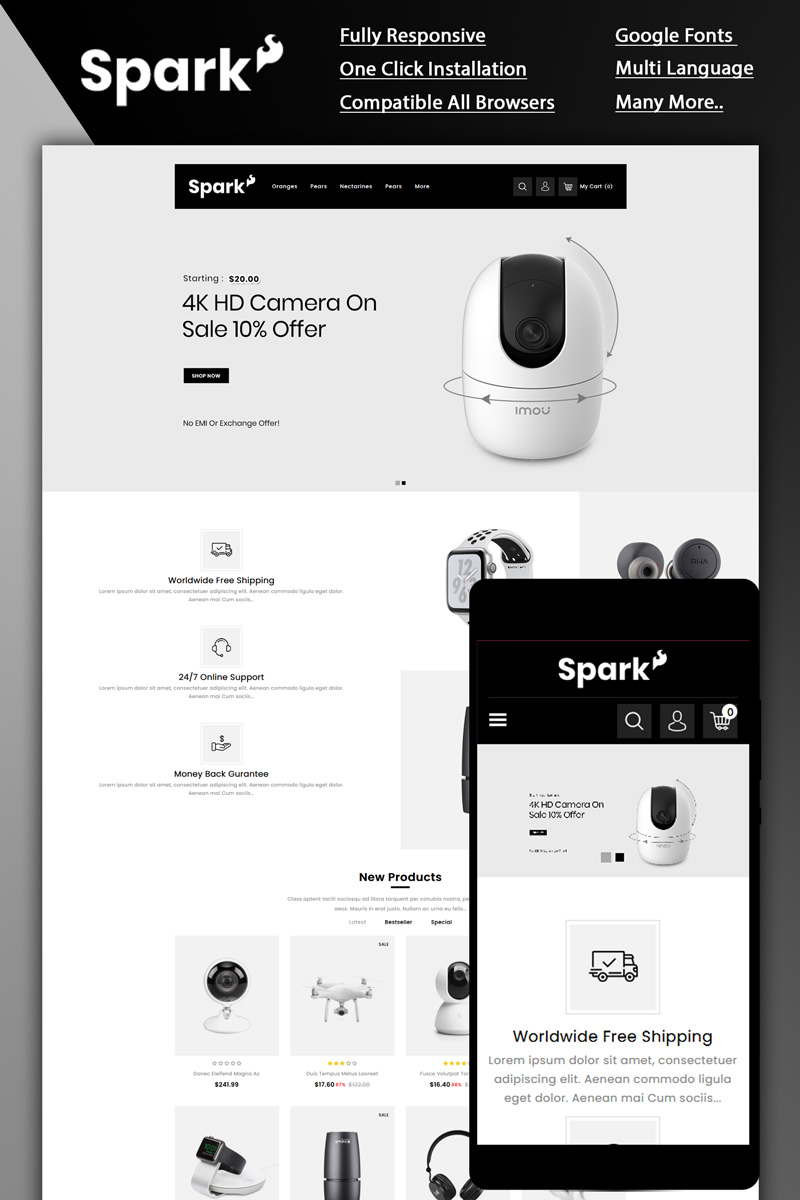 """Spark - Electronic Store"" Responsive OpenCart Template №87258"