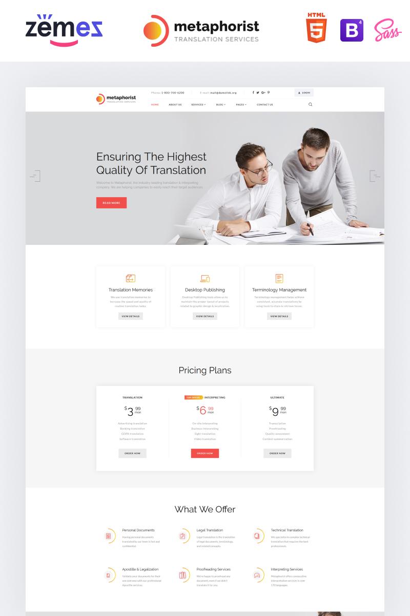 """Tema Siti Web Responsive #87234 """"Metaphorist - Translation Bureau Multipage Elegant HTML"""""""