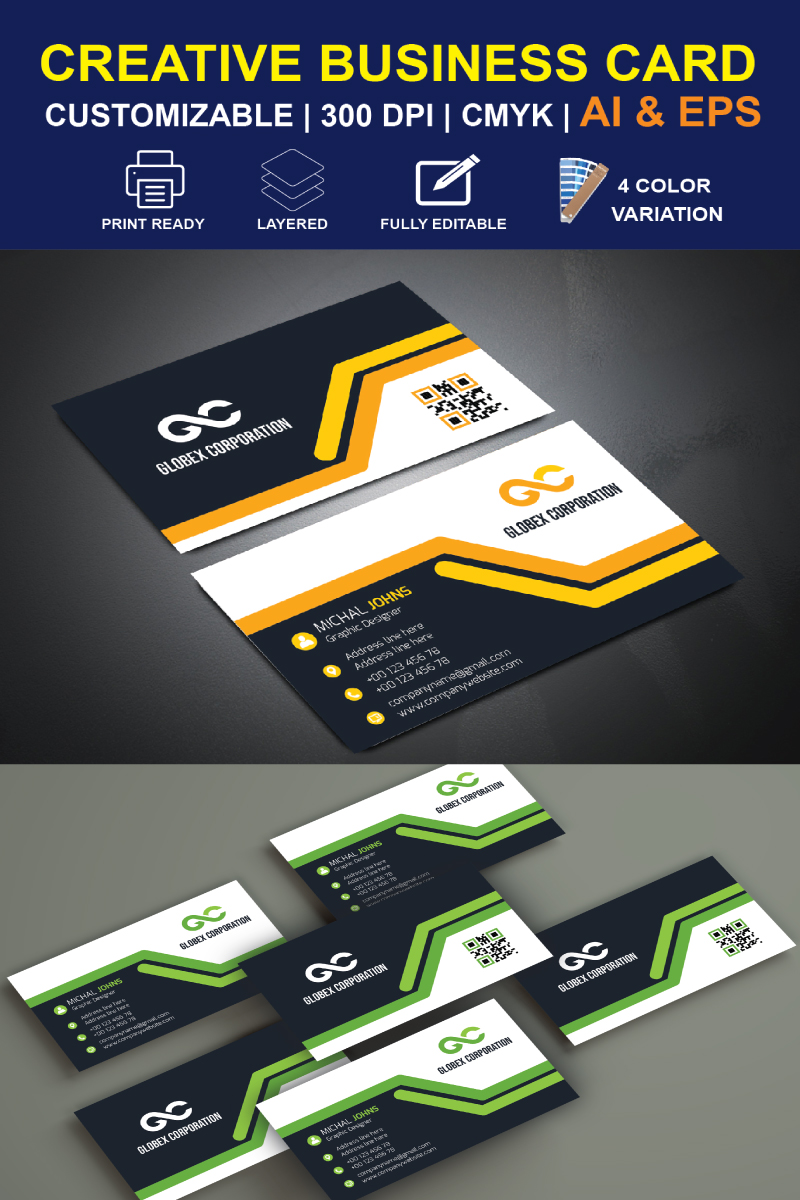 """Unternehmensidentität Vorlage namens """"Clean Business Card Design"""" #87299"""