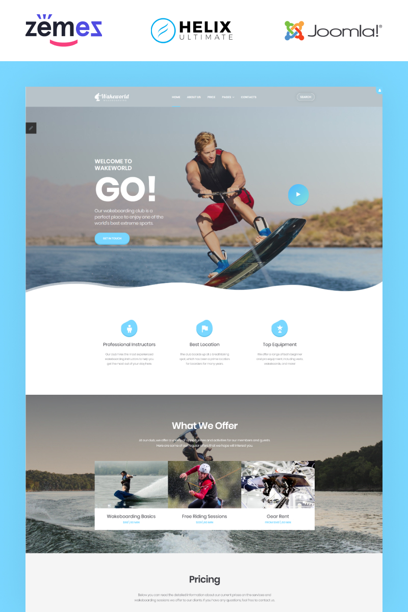 """Wakeworld - Surfing Multipage"" Joomla Template №87262"