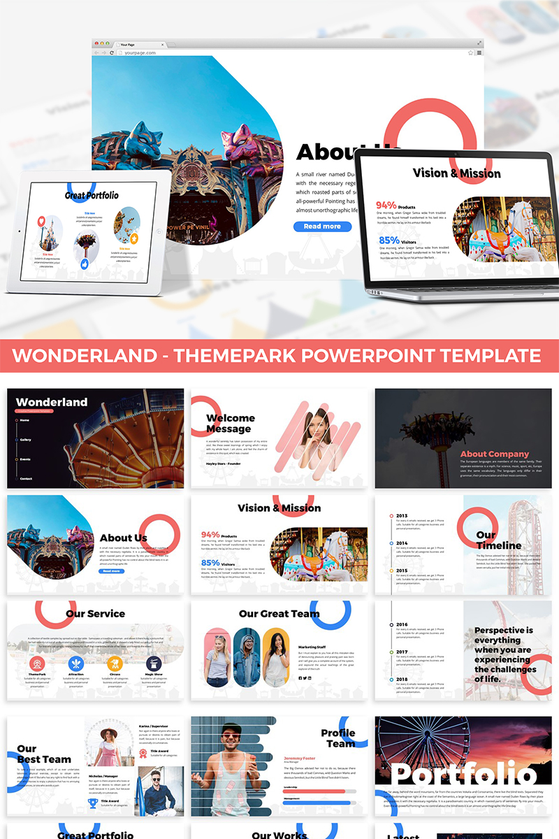 """Wonderland - Theme Park"" PowerPoint Template №87284"