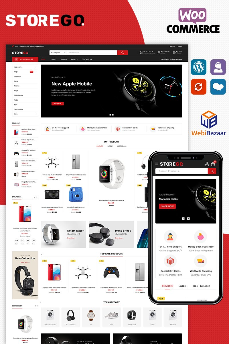 "WooCommerce Theme namens ""StoreGo Electronice"" #87256"