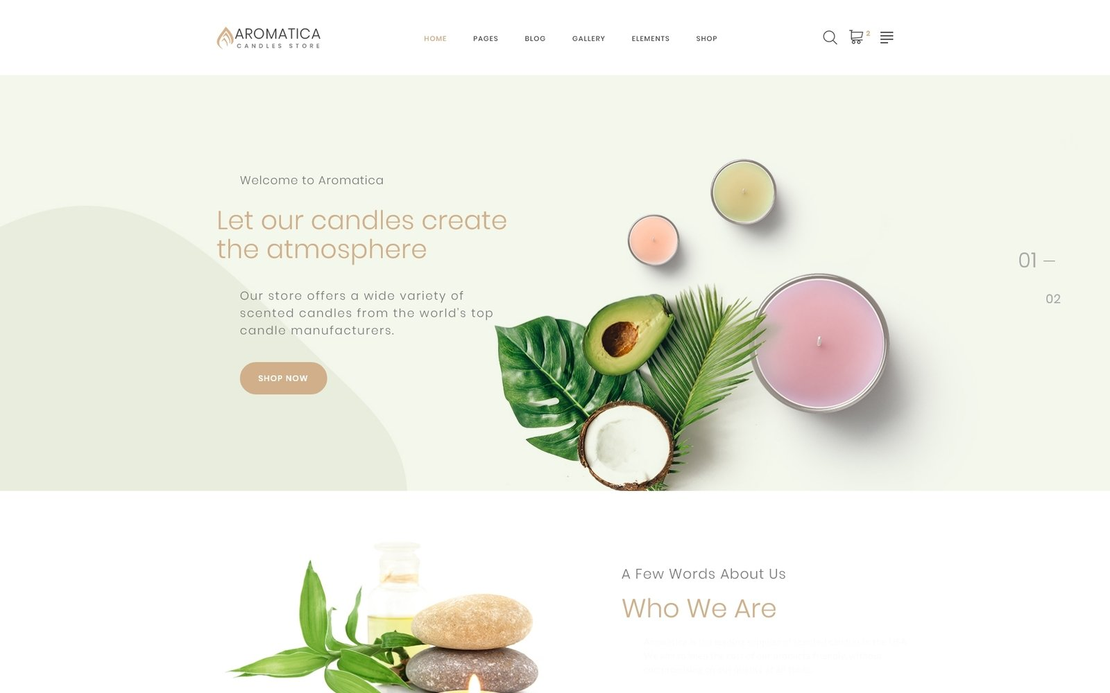 """""""Aromatica - Candles Store Multipage HTML"""" 响应式网页模板 #87314"""