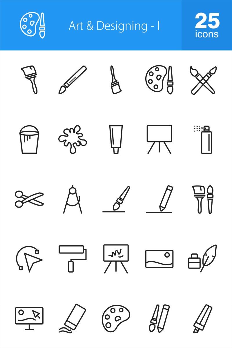 """""""50 Art & Designing"""" 图标集模板 #87316"""