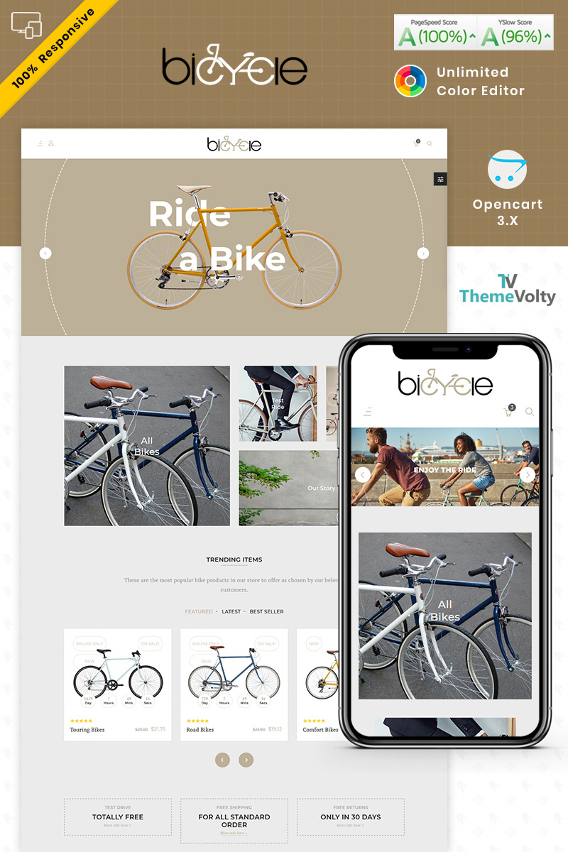 """Bicycle - Green Ride Sport Store"" OpenCart Template №87330"
