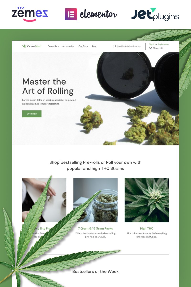 """CannaMed - Stylish Medical Marijuana"" Responsive WooCommerce Thema №87326"