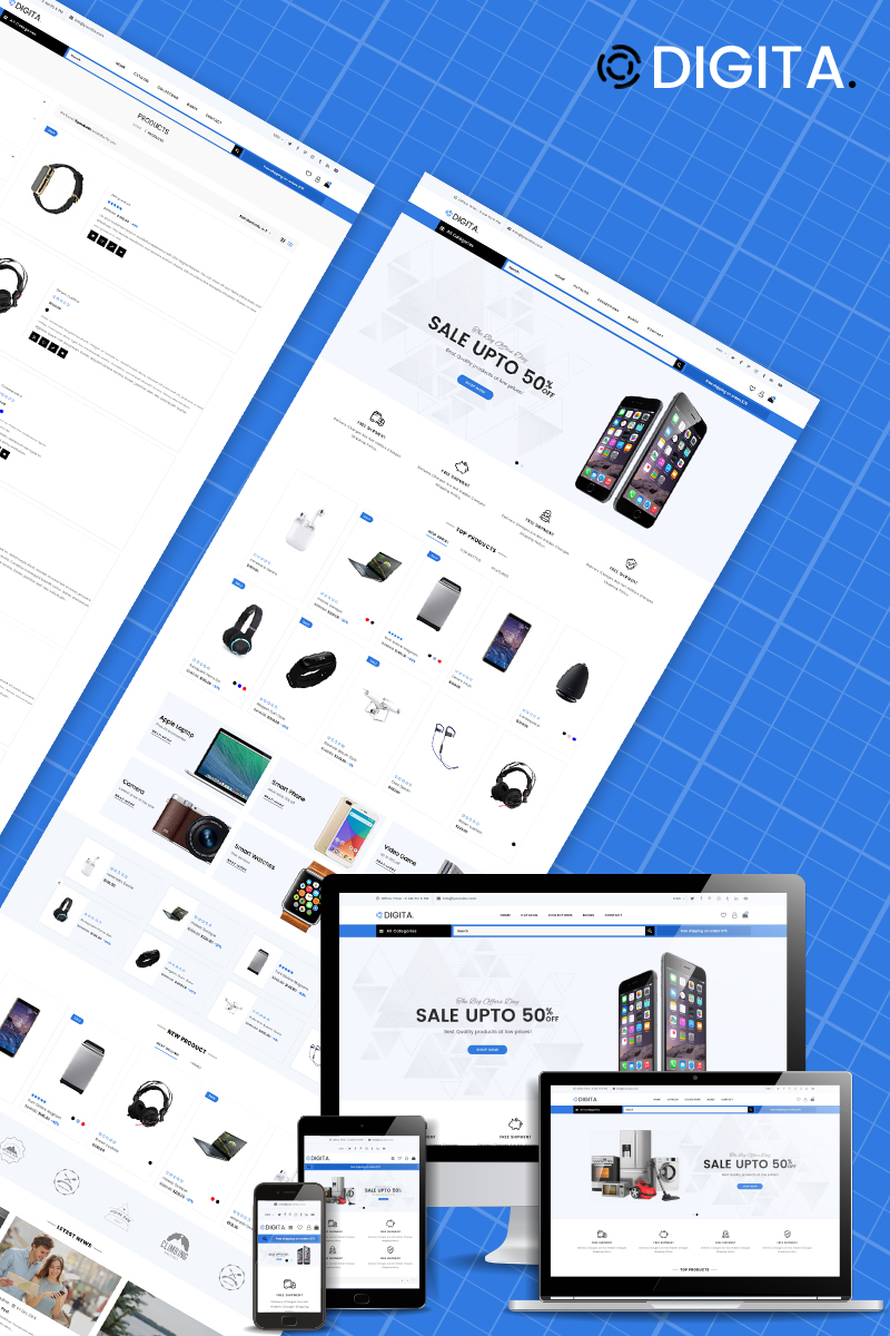 """Digita - Electronics Store eCommerce Clear"" - адаптивний Shopify шаблон №87342"