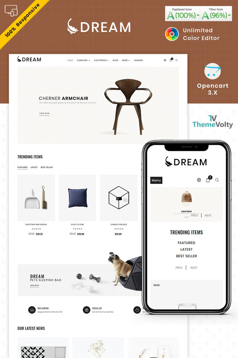 """Dream Furniture"" - адаптивний OpenCart шаблон №87341"