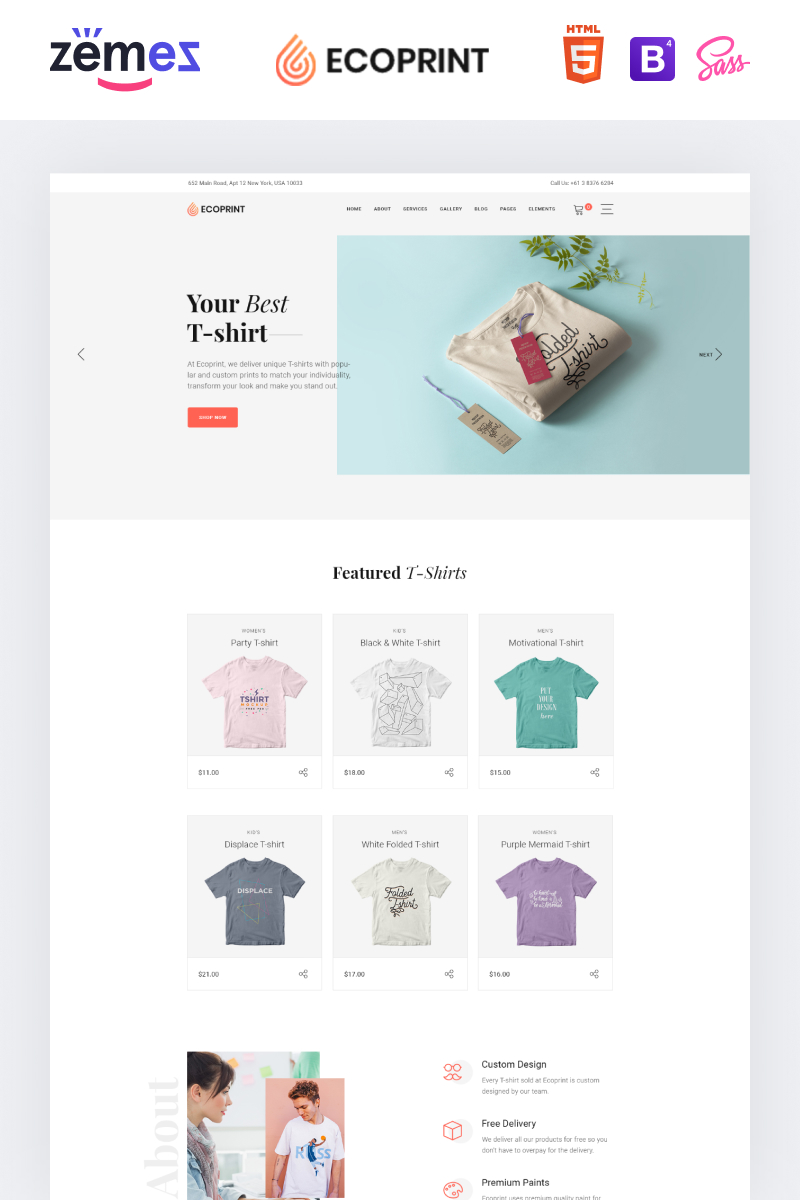 """""""Ecoprint - Print Store Multipage Clean HTML"""" 响应式网页模板 #87321 - 截图"""