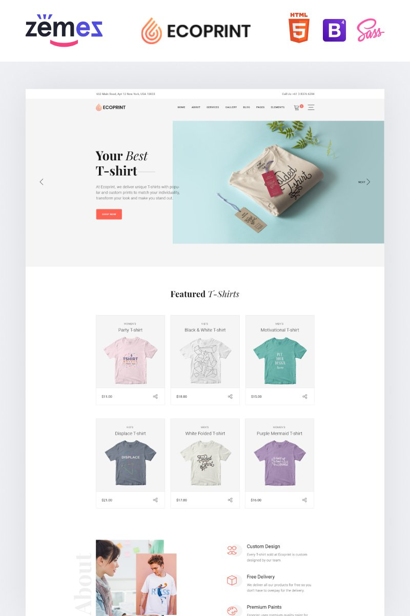 """""""Ecoprint - Print Store Multipage Clean HTML"""" 响应式网页模板 #87321"""