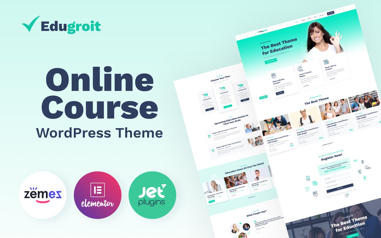 """Edugroit - Online Course Website Template"" Responsive WordPress thema №87334"