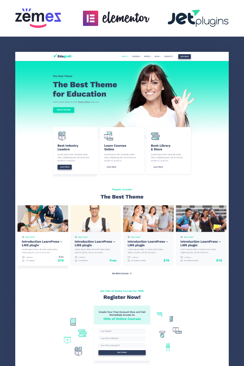 """Edugroit - Online Course Website Template"" Responsive WordPress thema №87334"