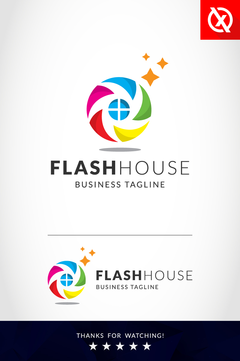 Flash House Photography Logo Template