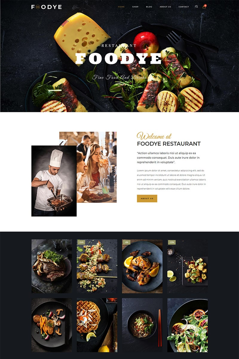 """Foodye -  Restaurant and Food"" 响应式WooCommerce模板 #87329"