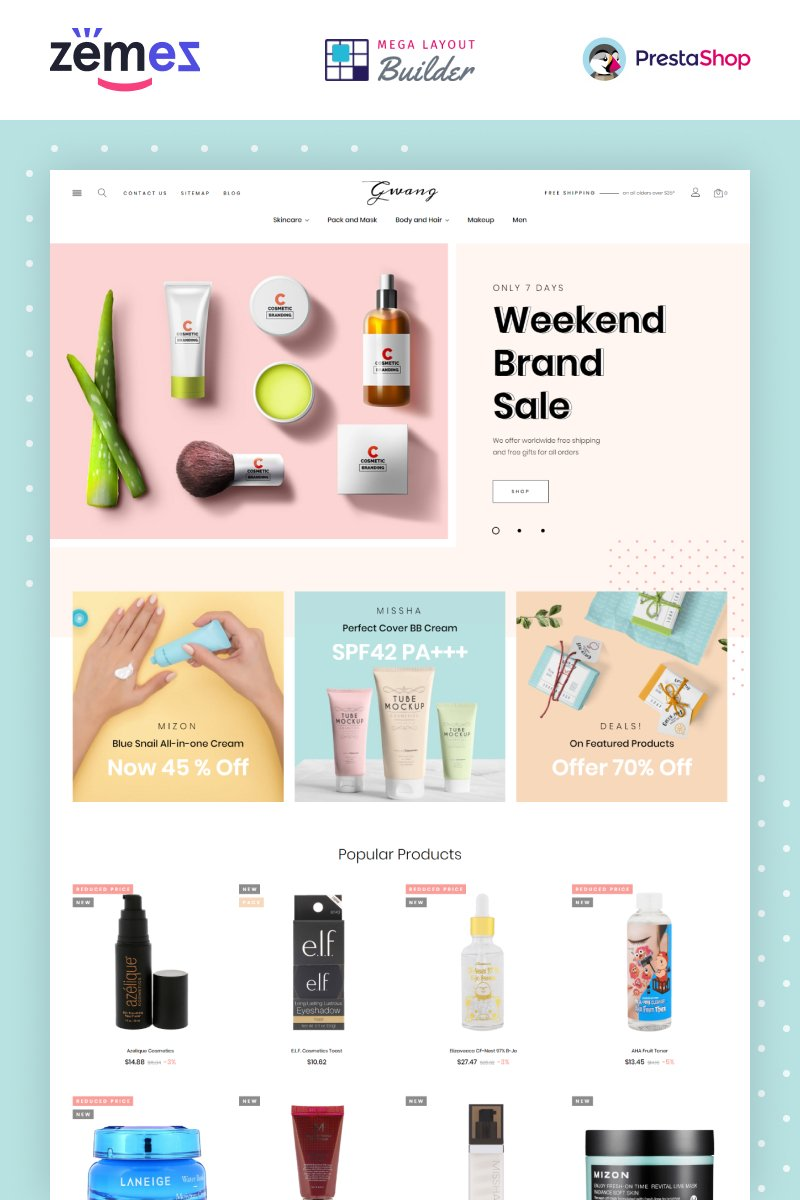 """Gwang - Korean Cosmetics Ecommerce"" - адаптивний PrestaShop шаблон №87319"