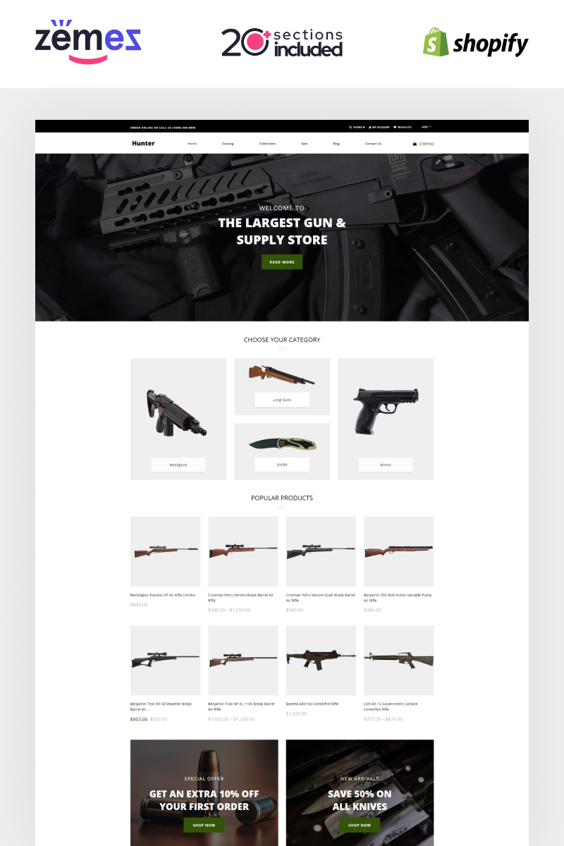 """Hunter - Simple Responsive Gun Shop"" Shopify Thema №87325"