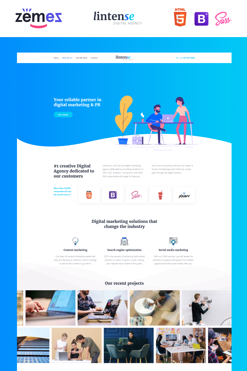 """Lintense Digital Agency - Creative HTML"" 响应式着陆页模板 #87315"