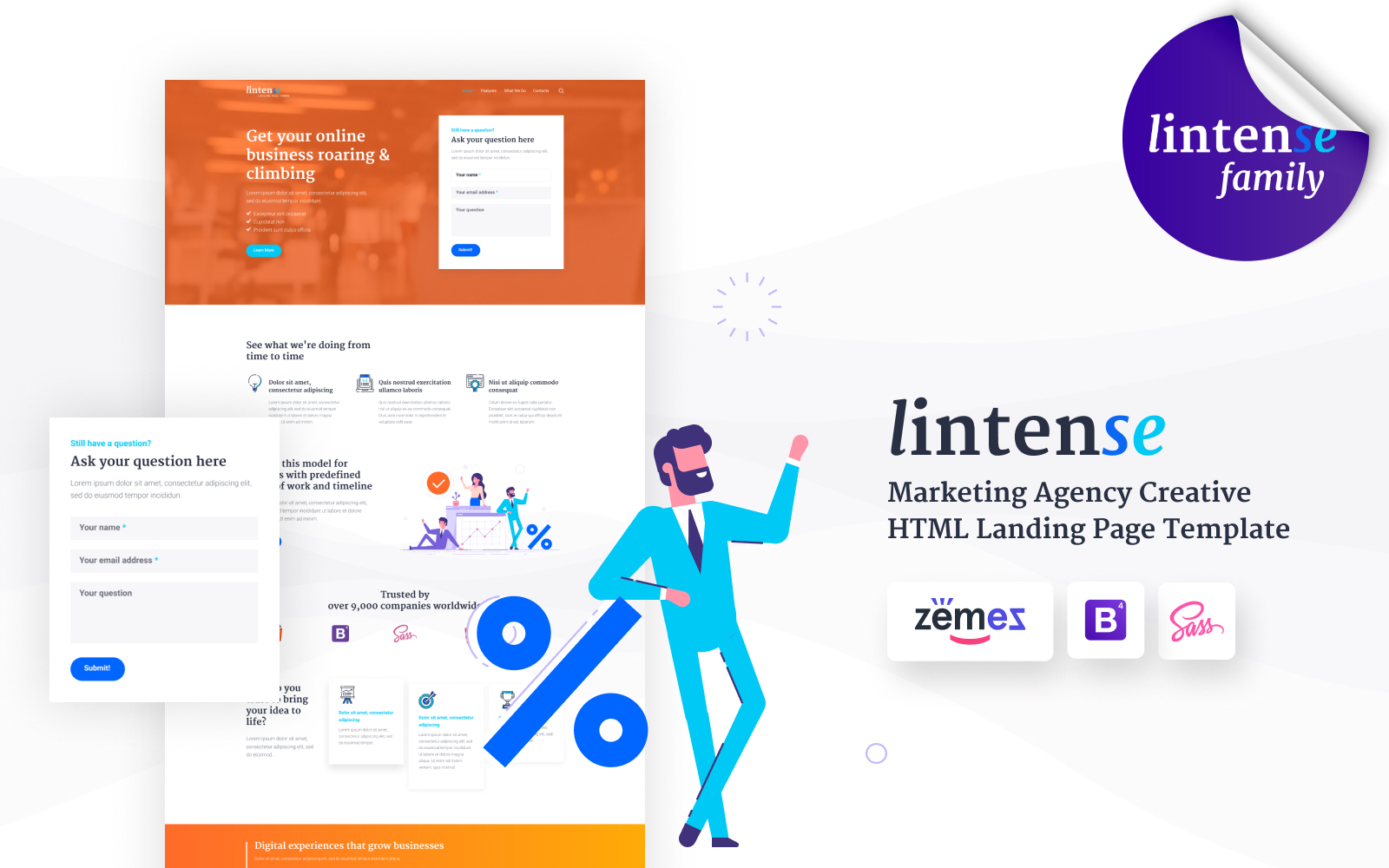 """Lintense SEO Agency - Marketing Agency Creative HTML Landing Page Template"" Responsive Landingspagina Template №87335"