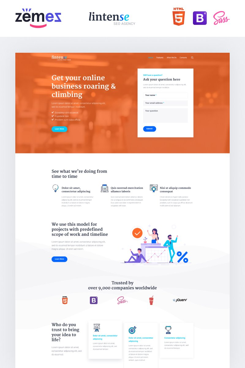 Lintense SEO Agency - Marketing Agency Creative HTML Templates de Landing Page №87335