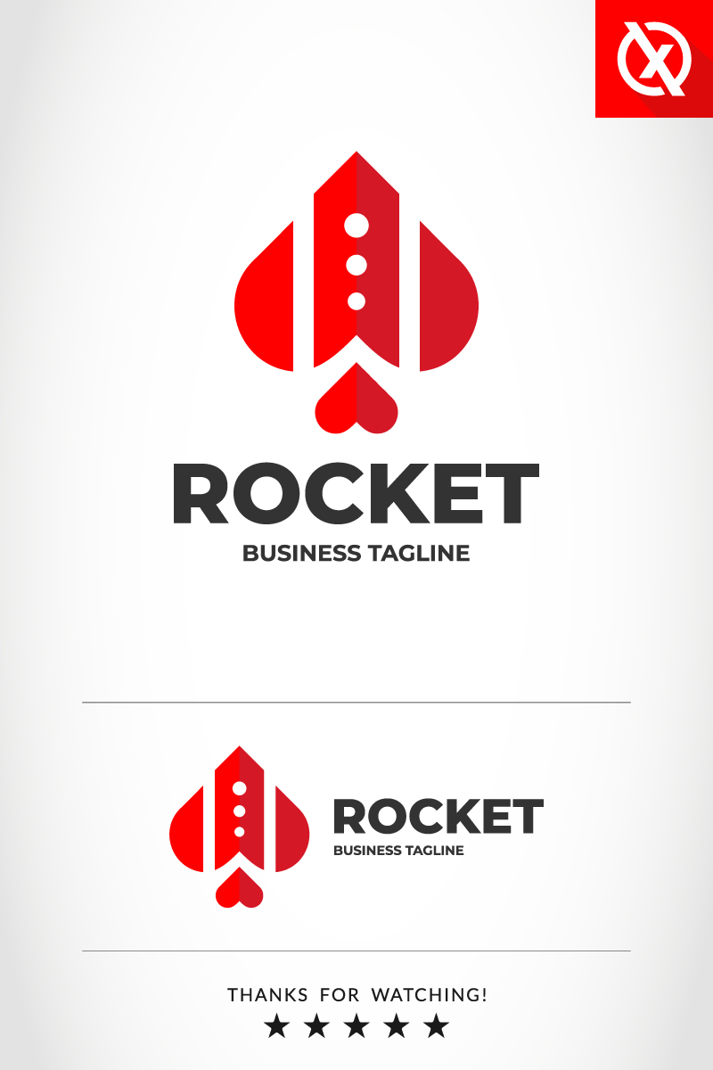 """Love Rocket"" Premium Logo template №87358"