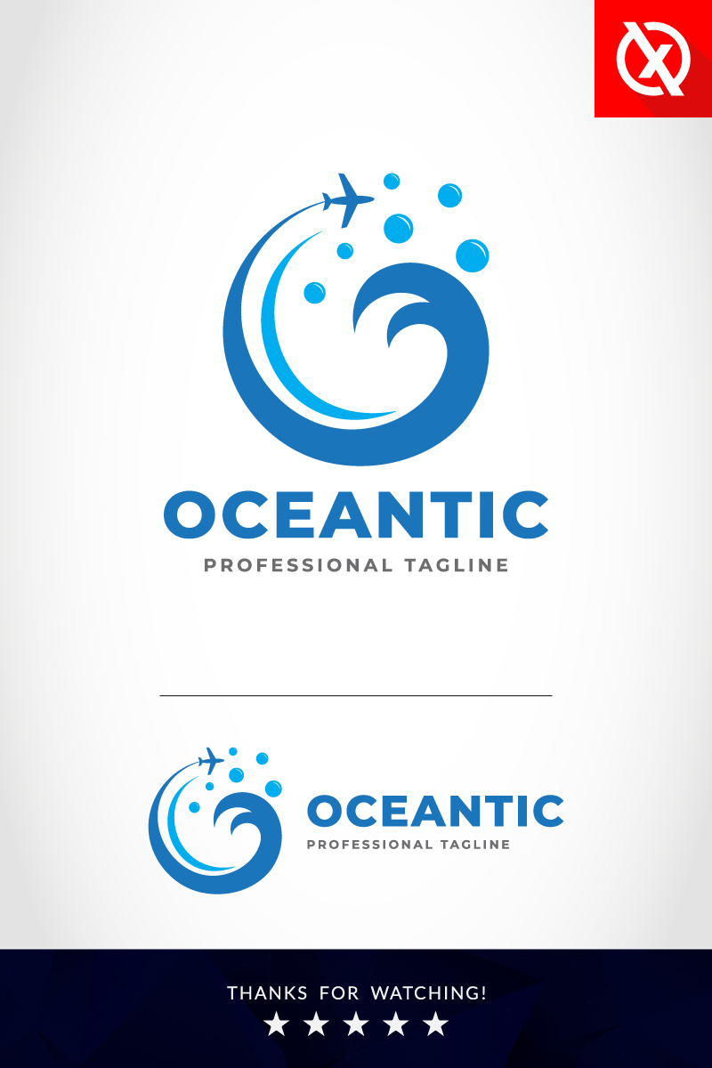 "Luxusní Šablona logotypu ""The Ocean Travel & Tourism"" #87351"